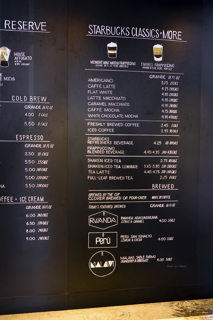 Starbucks Menu 1