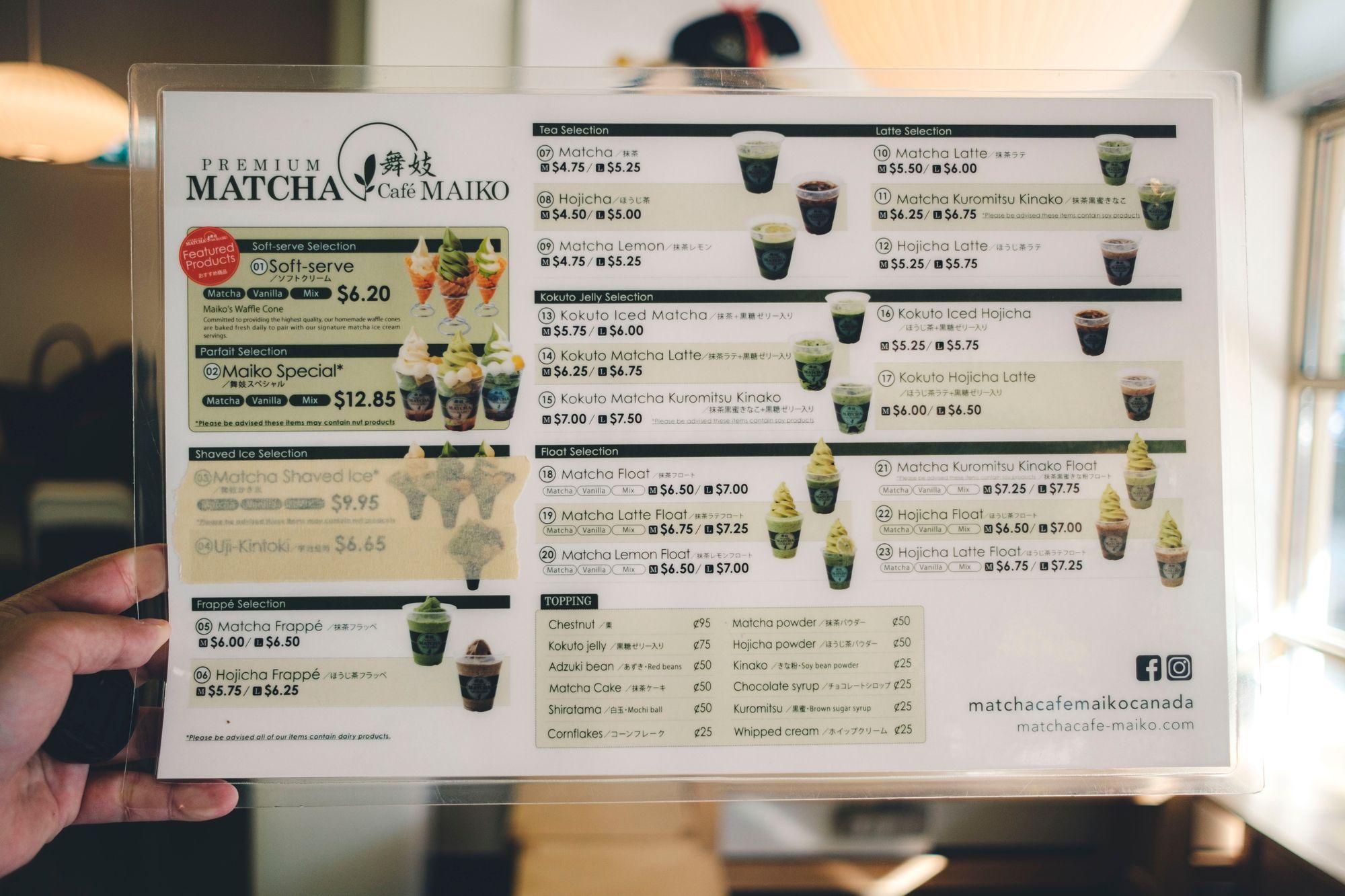 Matcha Cafe Maiko Menu