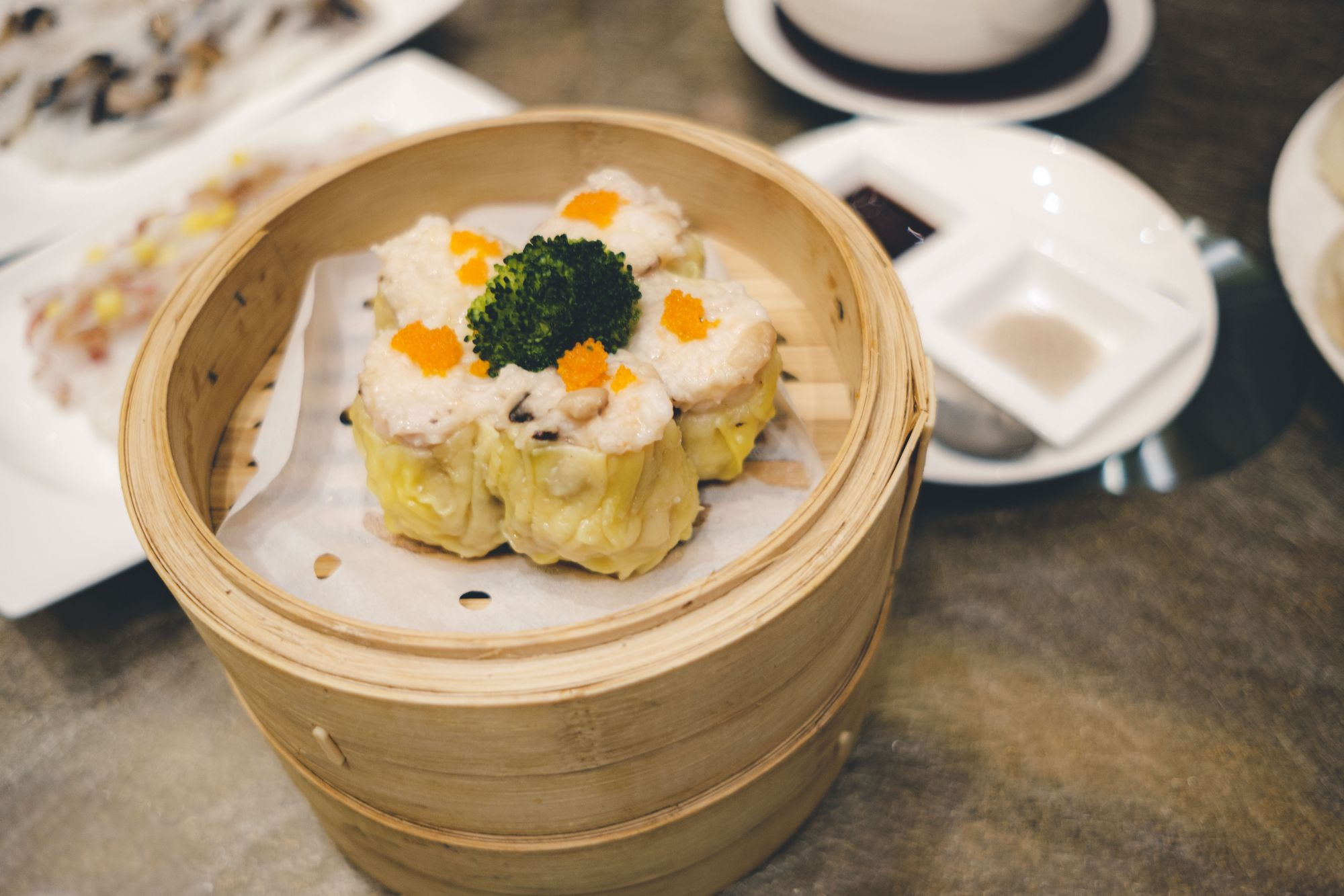 Steamed Pork DUmplings with Crab Roe (Siu Mai)