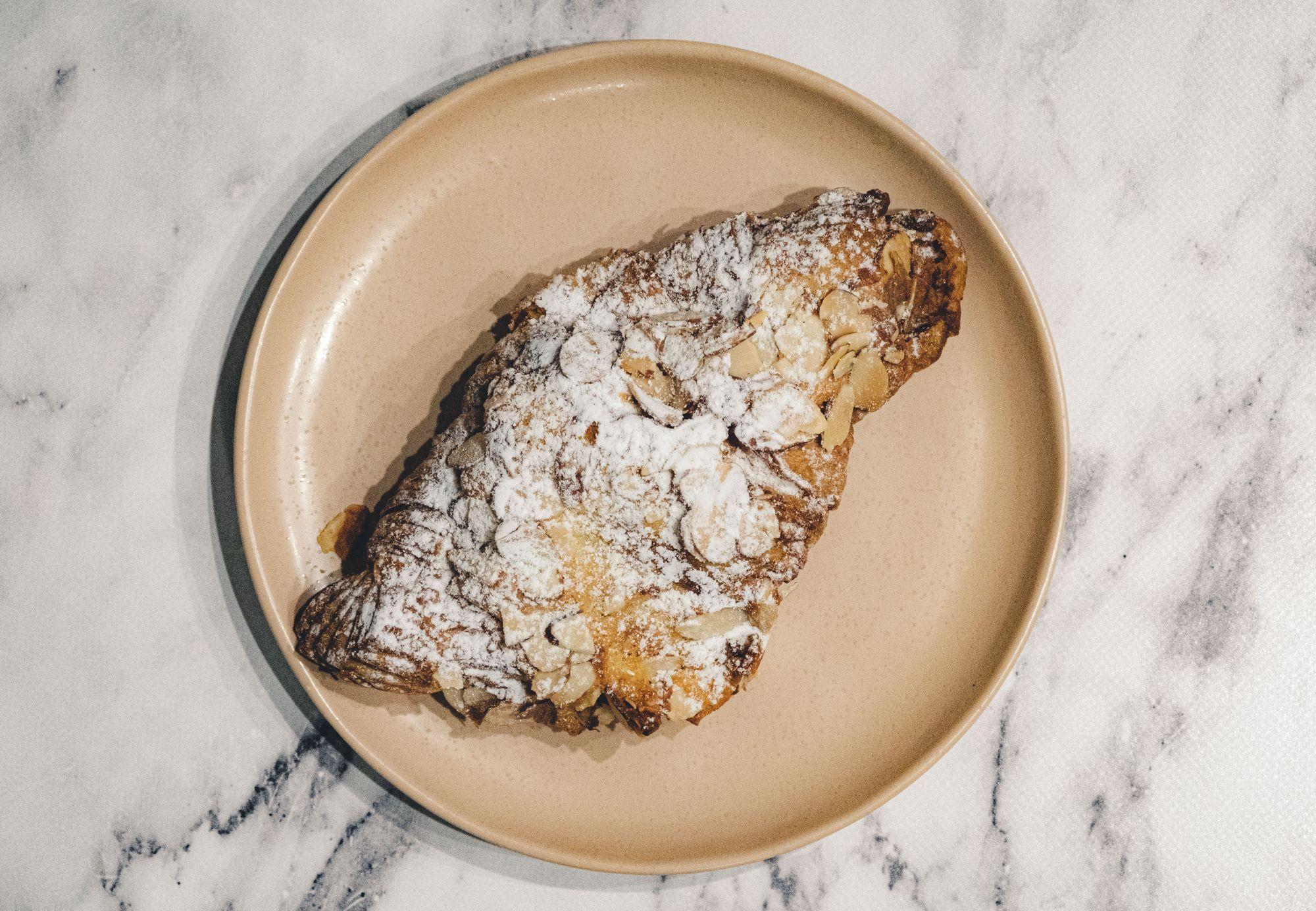 La Forêt Almond Croissant ($4.75) - Overhead